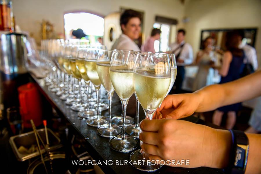 Hochzeitsfoto-Reportage Tegernsee, Prosecco Champagner Sekt