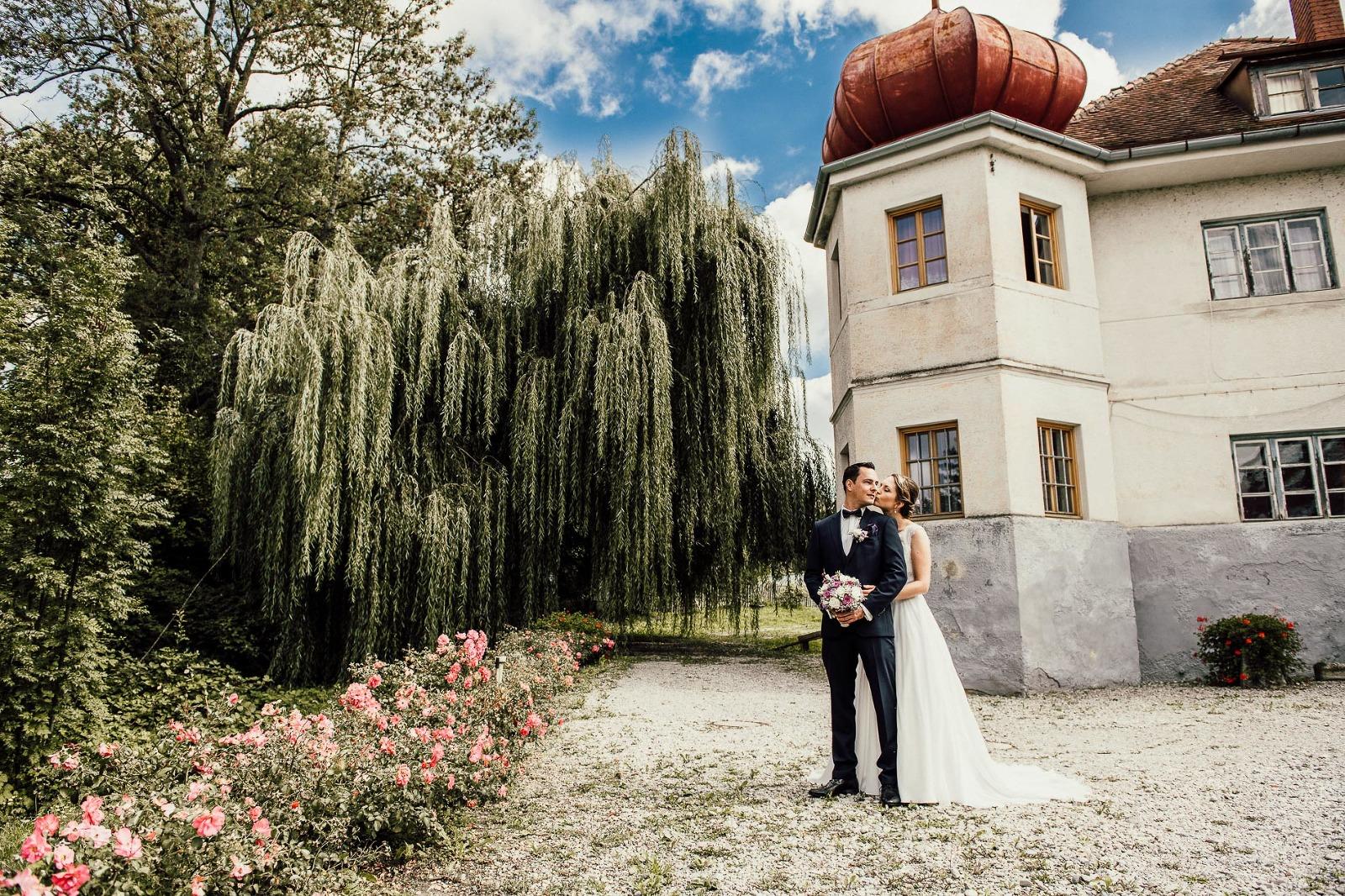 Hochzeit Fotografie München, Brautpaarfoto shooting im Schloss