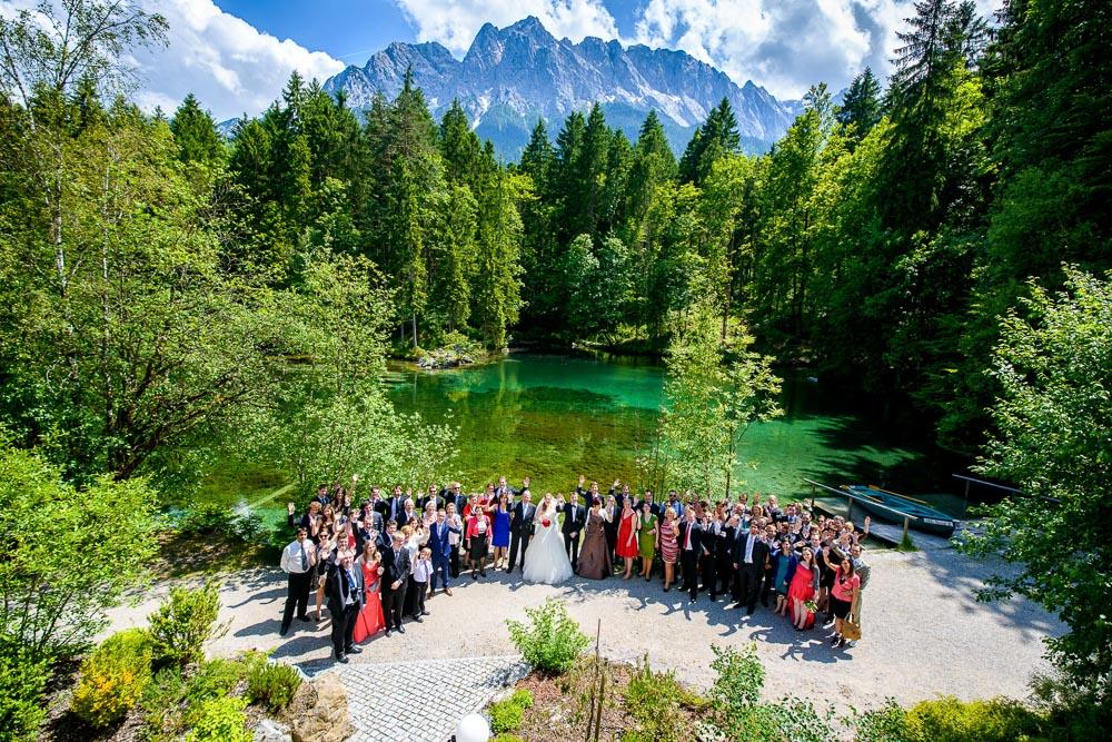 Hochzeits-Fotograf Garmisch Partenkirchen, Gruppenbild am Badersee
